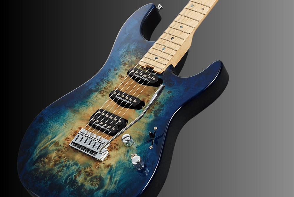 ESP Snapper-CTM/M Poplar Burl Nebula Blue Burst