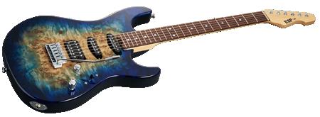 ESP Snapper-CTM/R Poplar Burl Nebula Blue Burst