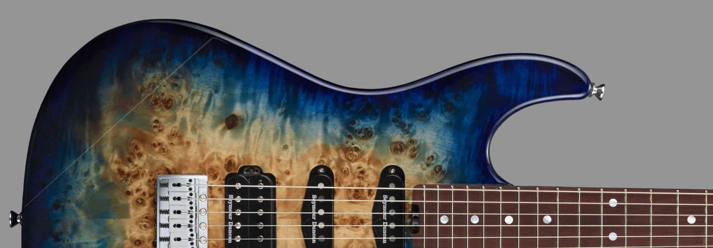 ESP Snapper-CTM/HR Poplar Burl Nebula Blue Burst
