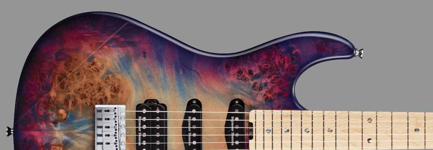 ESP Snapper-CTM/M Poplar Burl Nebula Pink Purple Burst